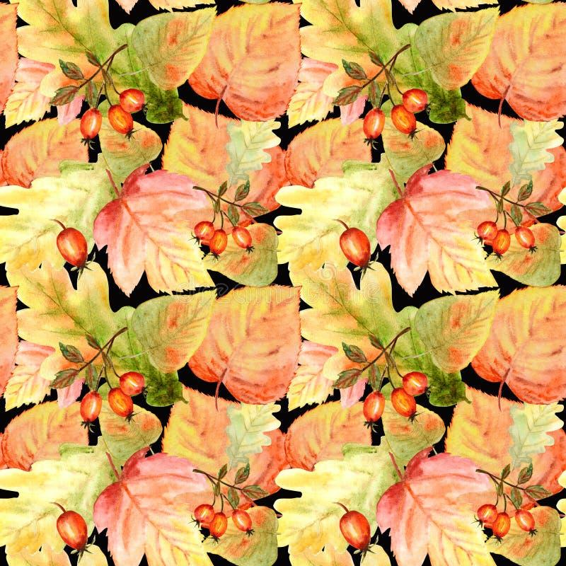 Nahtloses Muster des Aquarells mit hellen Farbwaldblättern und -niederlassungen Schöner Herbsthintergrund in der Orange, grün lizenzfreies stockfoto