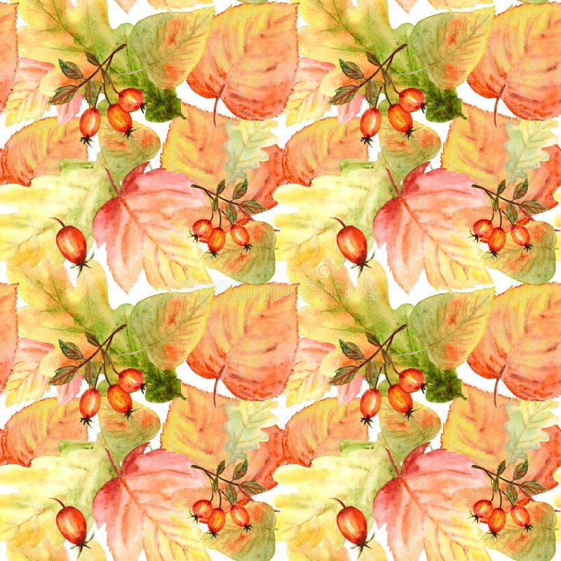 Nahtloses Muster des Aquarells mit hellen Farbwaldblättern und -niederlassungen Schöner Herbsthintergrund in der Orange, grün lizenzfreie abbildung