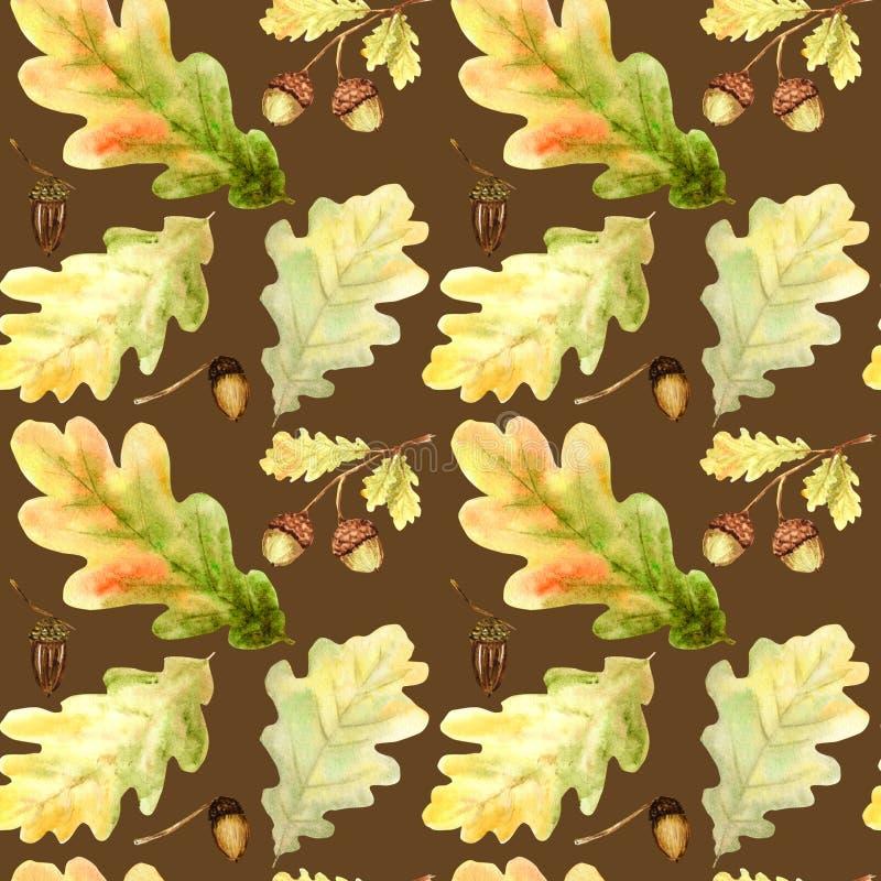 Nahtloses Muster des Aquarells mit hellen Farbwaldeichenblättern und -niederlassungen Schöner Herbsthintergrund in der Orange lizenzfreies stockbild
