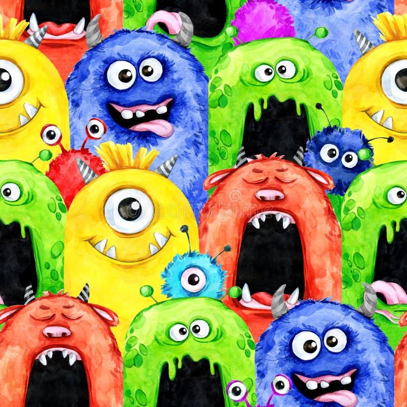 Nahtloses Muster des Aquarells mit lustigen Monsterköpfen lizenzfreie abbildung