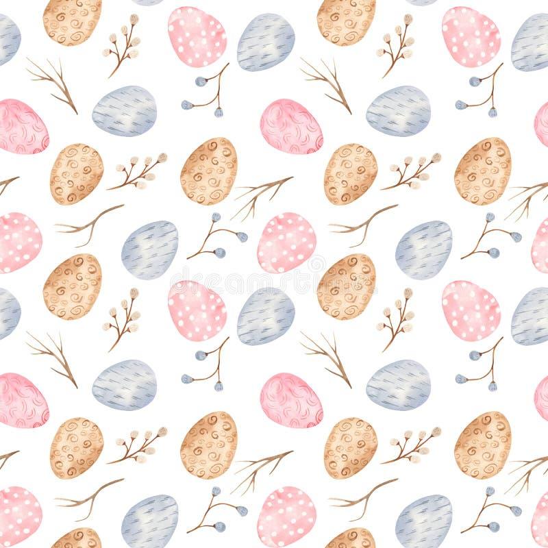 Nahtloses Muster des Aquarells mit mehrfarbigen Ostereiern und Weide stock abbildung