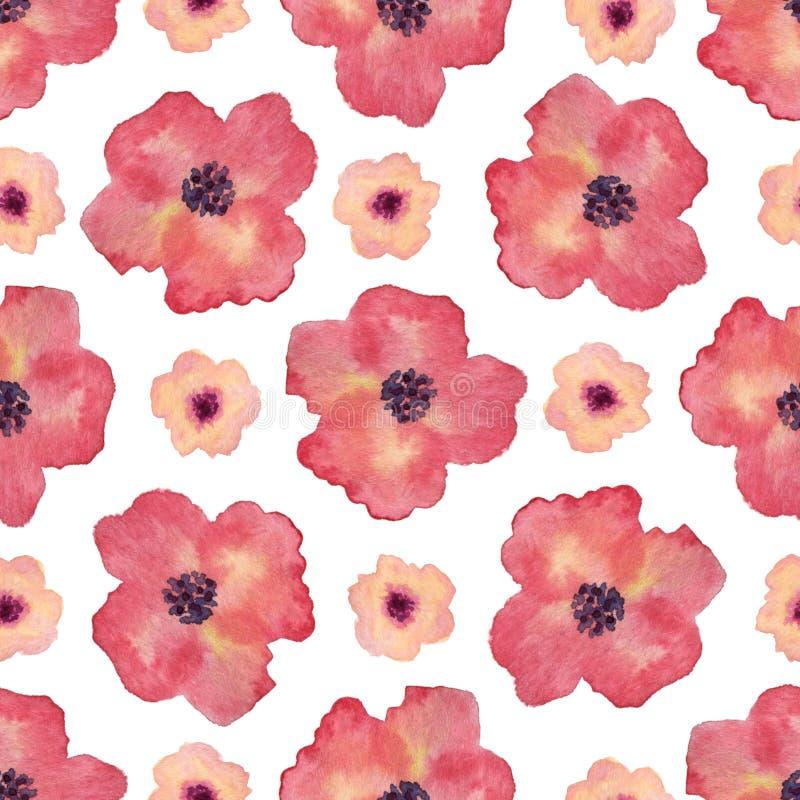 Nahtloses Muster des Aquarells mit Mohnblumenblumen Handfarbenhintergrund Kann für Verpackungs-, Textil- und Verpackungsgestaltun vektor abbildung