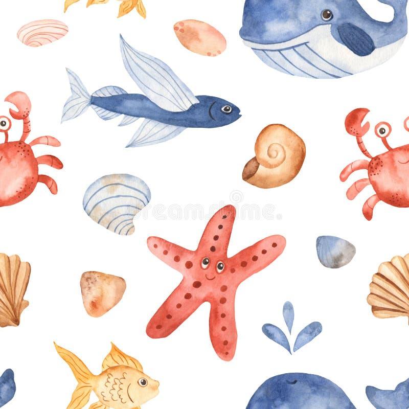 Nahtloses Muster des Aquarells mit nette Karikaturkinderunterwassergeschöpfen vektor abbildung