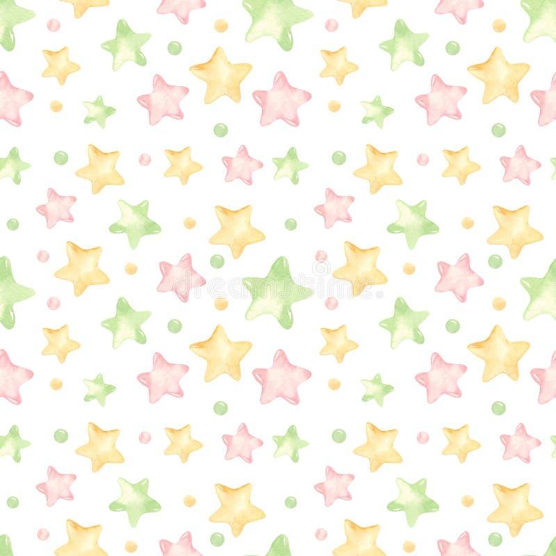 Nahtloses Muster des Aquarells mit netten farbigen Sternen vektor abbildung