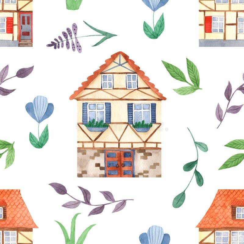 Nahtloses Muster des Aquarells mit netten süßen Häusern, Blätter, Blumen lizenzfreie abbildung