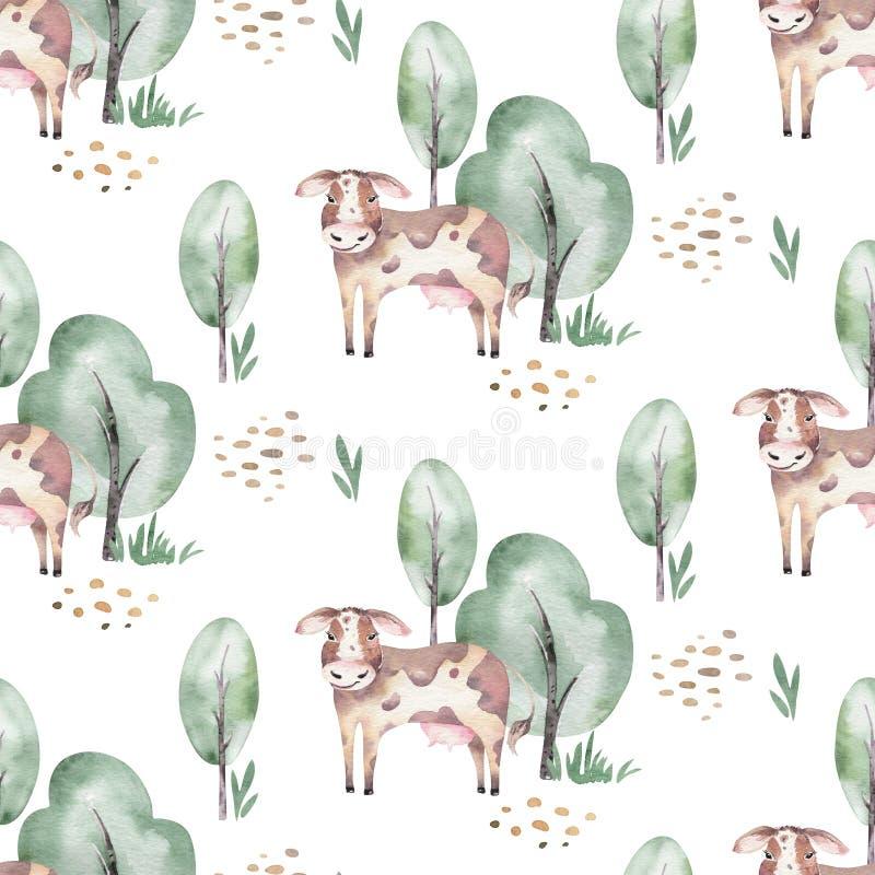 Nahtloses Muster des Aquarells mit netten Vieh mit Ziege, Pferd, Gans und Kuh Huhn, Schafe und Schwein inl?ndisch vektor abbildung
