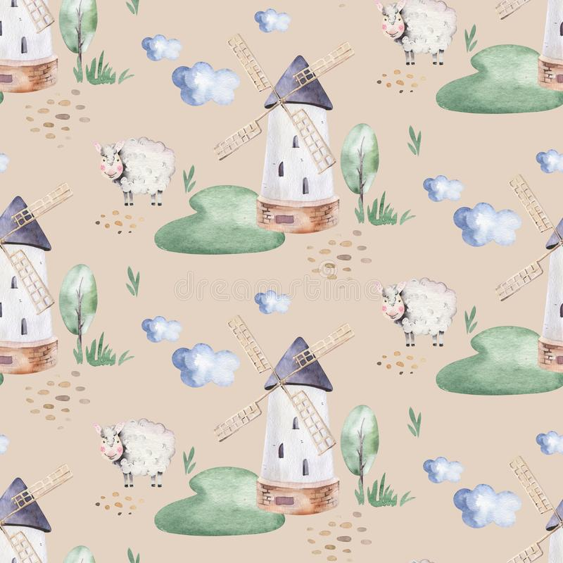 Nahtloses Muster des Aquarells mit netten Vieh mit Ziege, Pferd, Gans und Kuh Huhn, Schafe und Schwein inl?ndisch lizenzfreie abbildung