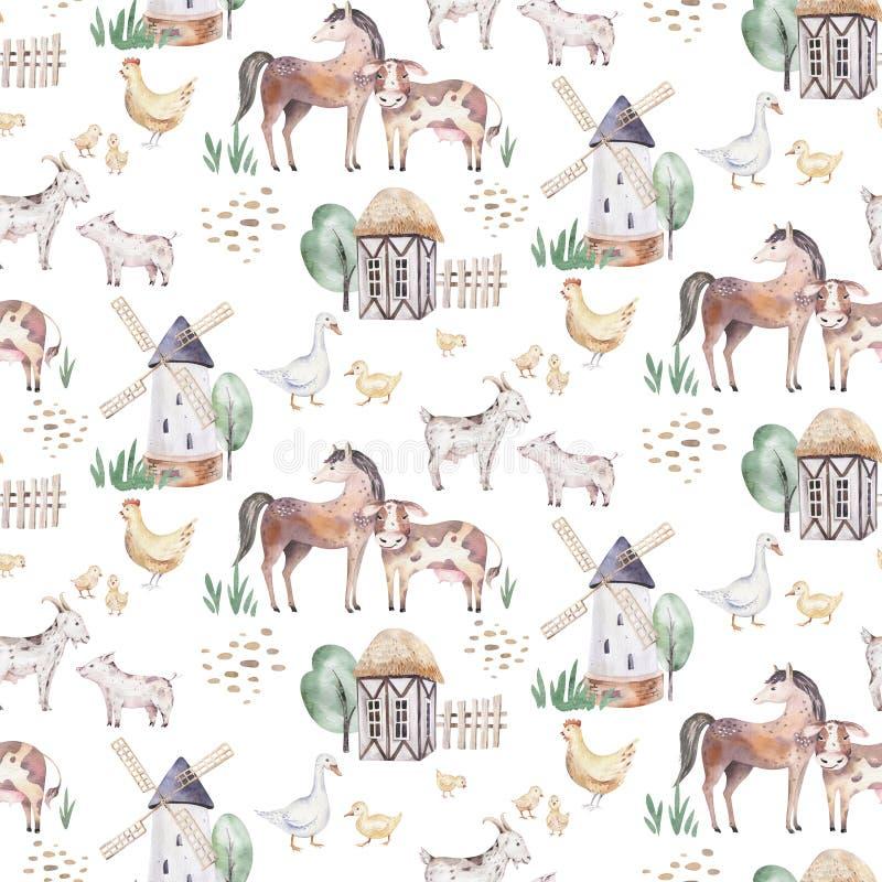 Nahtloses Muster des Aquarells mit netten Vieh mit Ziege, Pferd, Gans und Kuh Huhn, Schafe und Schwein inl?ndisch stock abbildung
