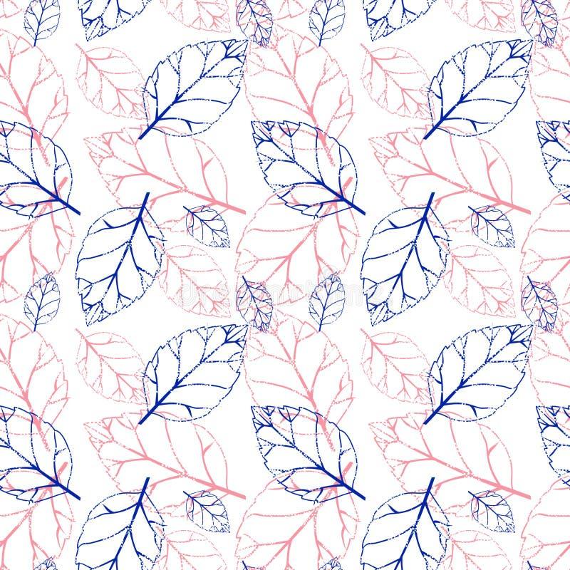 Nahtloses Muster des Aquarells mit rosa und orange Herbstlaub Feld des grünen Grases gegen einen blauen Himmel mit wispy weißen W vektor abbildung