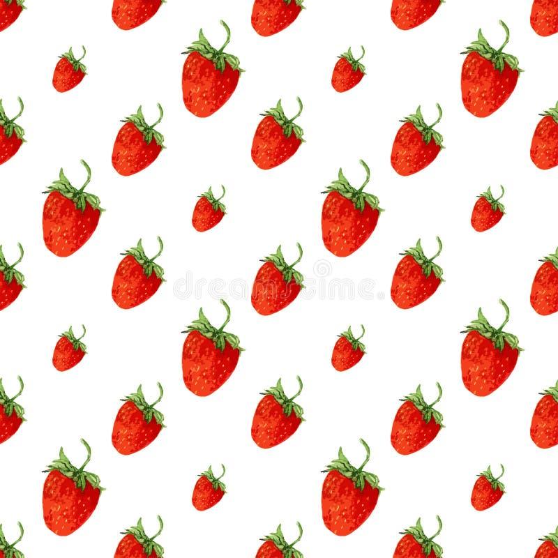 nahtloses muster des aquarells mit roten erdbeeren vektorhintergrund f r druck hand gezeichnet. Black Bedroom Furniture Sets. Home Design Ideas
