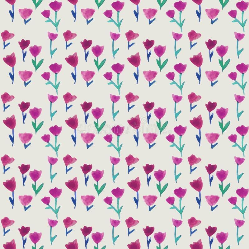 Nahtloses Muster des Aquarells mit Tulpen und Pastellhintergrund Hintergrund für Webseiten, Heiratseinladungen, speichern die Dat lizenzfreie abbildung