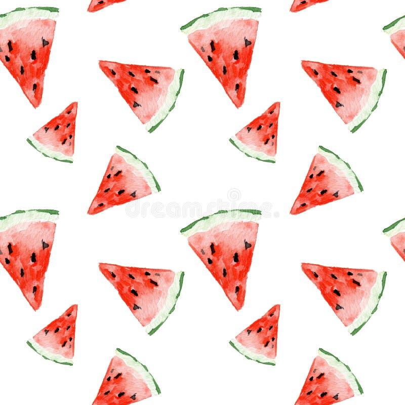 Nahtloses Muster des Aquarells mit Wassermelone Exotisches neues Muster lokalisiert auf weißem Hintergrund lizenzfreies stockfoto