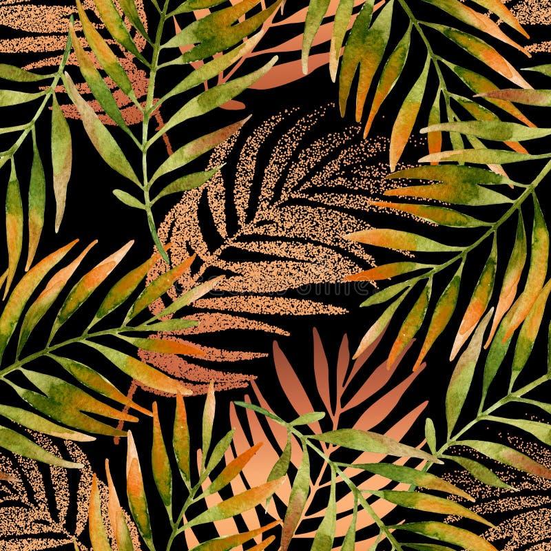 Nahtloses Muster des Aquarells und des goldenen grafischen Palmblattes stock abbildung