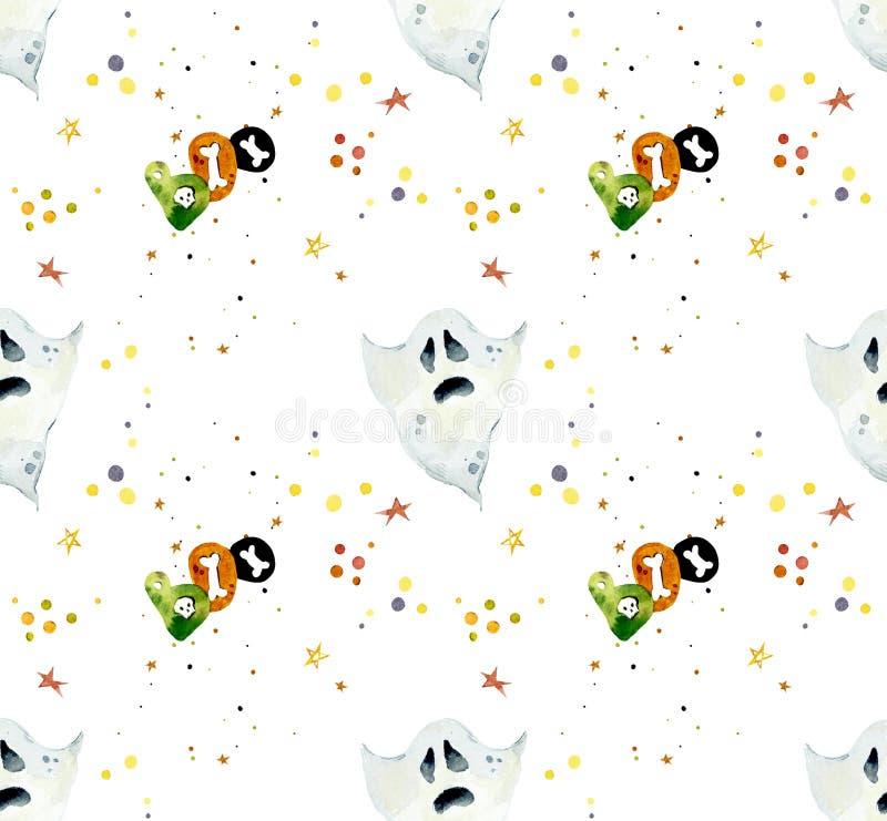 Nahtloses Muster des Aquarells von Halloween-Elementen Helle von Hand gezeichnete Elemente stock abbildung