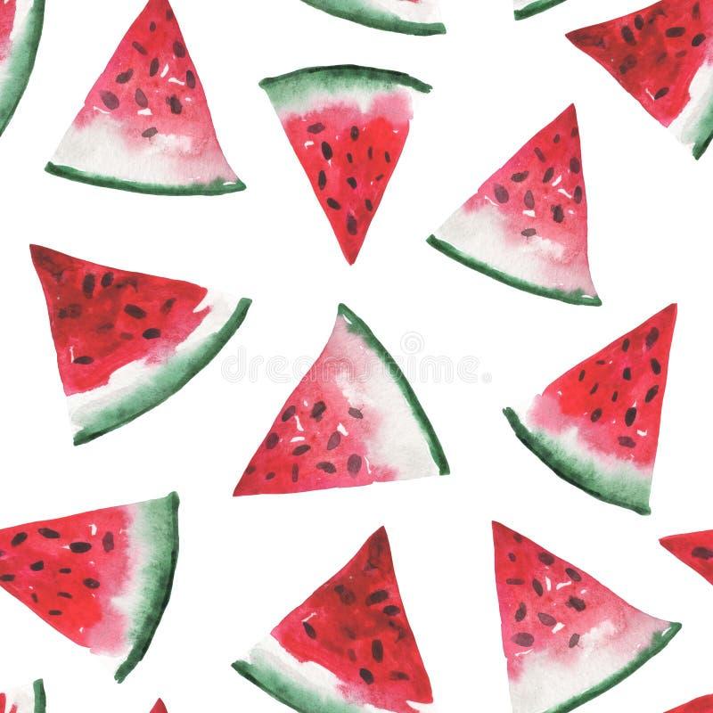 Nahtloses Muster des Aquarells von Wassermelonenscheiben lizenzfreie abbildung