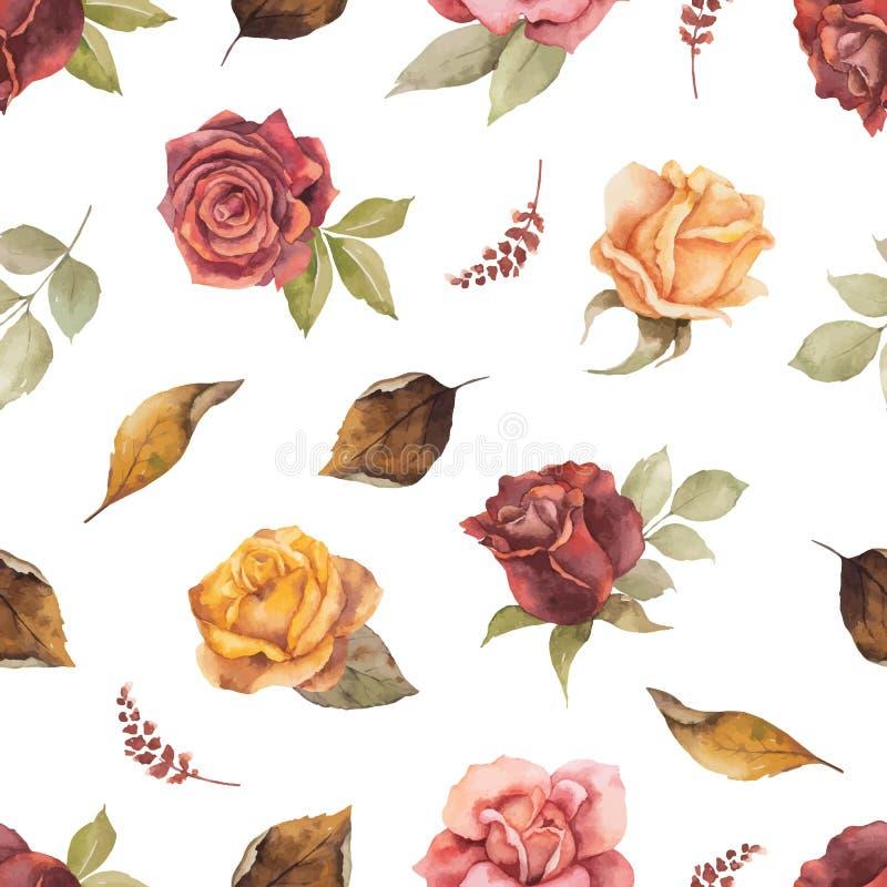 Nahtloses Muster des Aquarellvektor-Herbstes mit den Rosen und Blättern lokalisiert auf weißem Hintergrund lizenzfreie abbildung