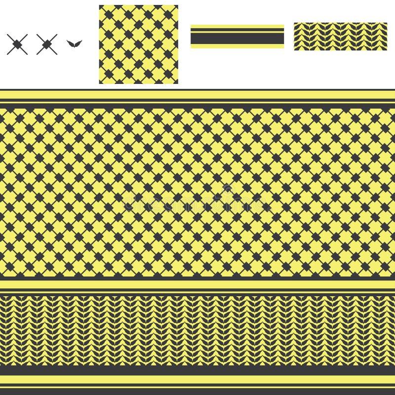 Nahtloses Muster des arabischen Rechteckdiamant-Gelbs stock abbildung