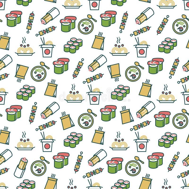 Nahtloses Muster des asiatischen Lebensmittels - chinesisches Schnellimbissmuster stock abbildung
