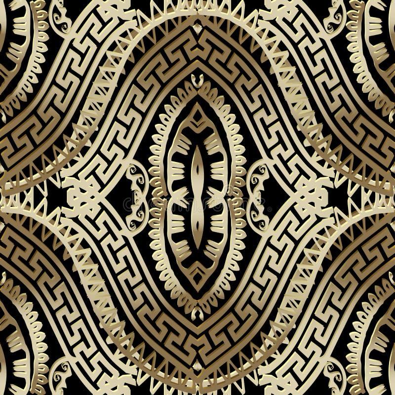 Nahtloses Muster des aufwändigen Luxusvektors des Gold 3d griechischen dekorativ lizenzfreie abbildung