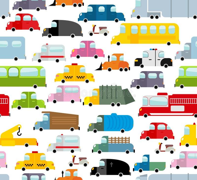 Nahtloses Muster des Autos Hintergrund des Transportes in der Karikaturart lizenzfreie abbildung