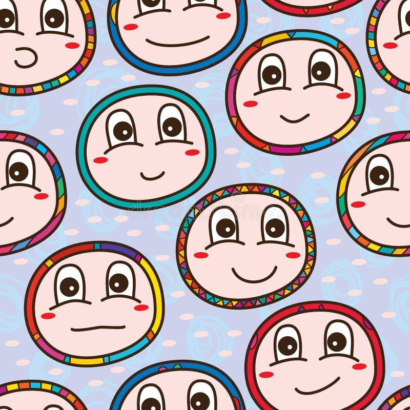 Nahtloses Muster des Babygesichtes lizenzfreie abbildung