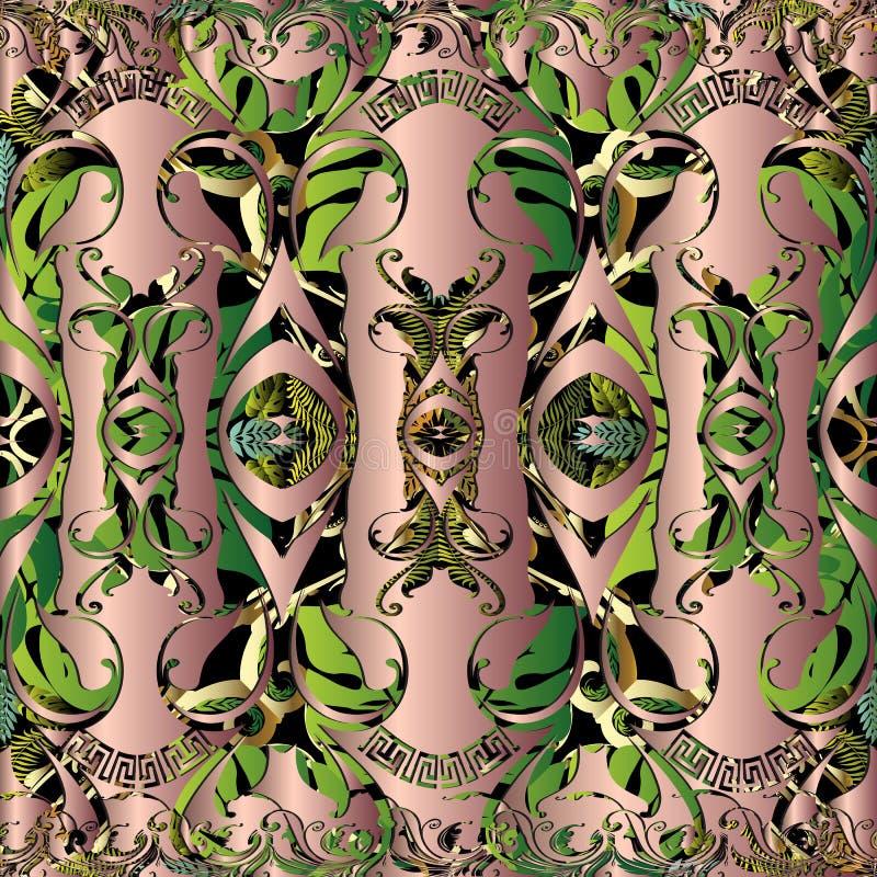 Nahtloses Muster des barocken Blumen-Vektors 3d Grüner tropischer Blatthintergrund Abstrakter dekorativer Wiederholungshintergrun vektor abbildung