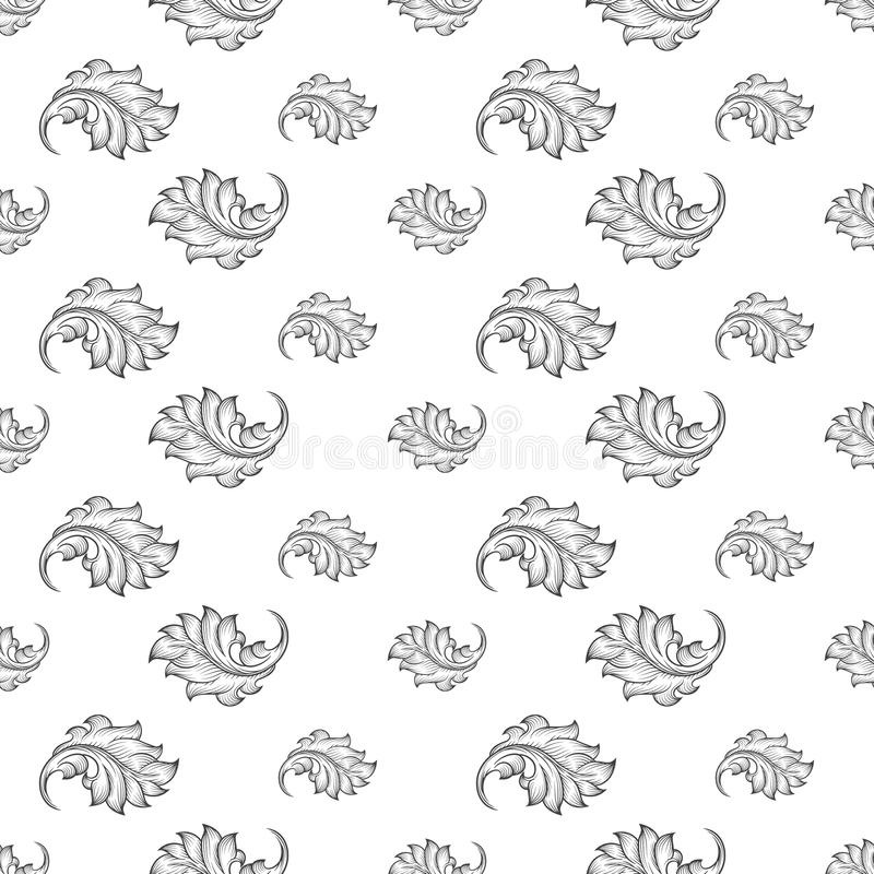 Nahtloses Muster des barocken Damastes stock abbildung