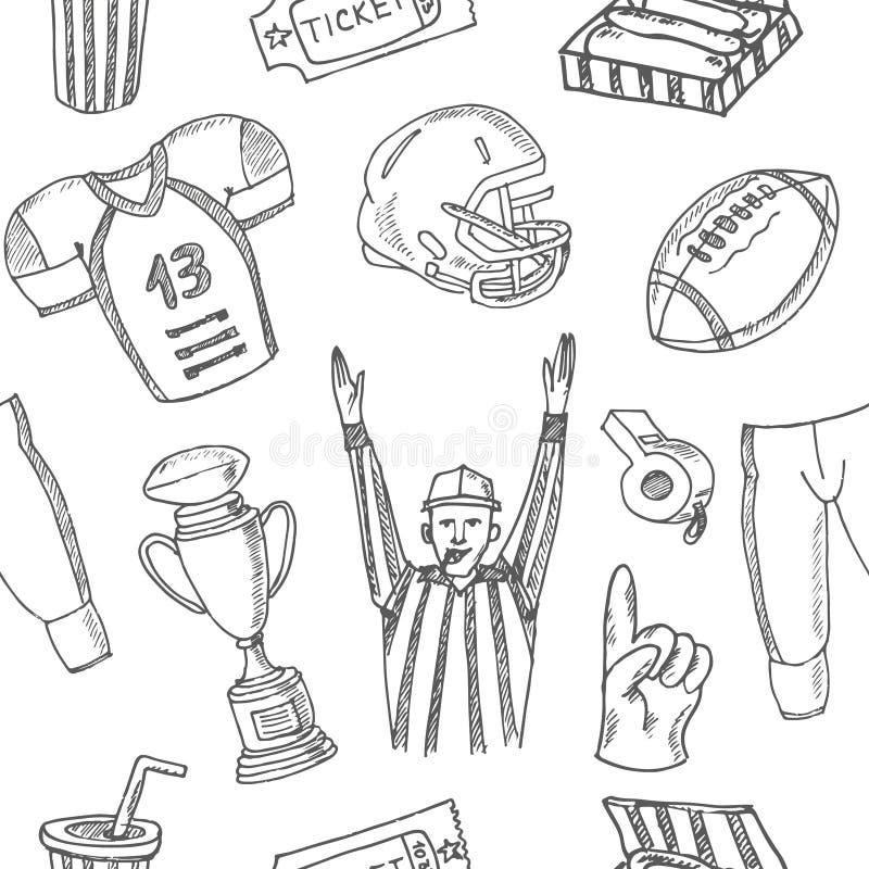 Nahtloses Muster des Baseballs Skizzen von verschiedenem stilisiertem stock abbildung