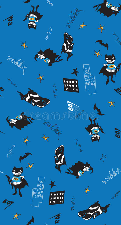 Nahtloses Muster des Batman-Spaßkarikatur-Jungen vektor abbildung