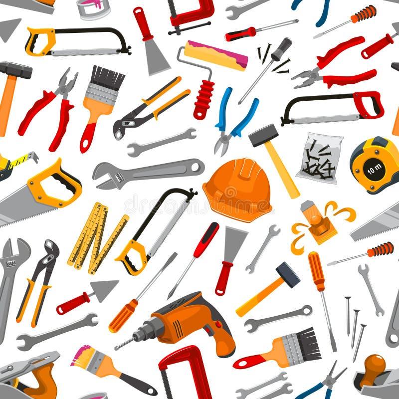 Nahtloses Muster des Bauarbeitsgeräts stock abbildung