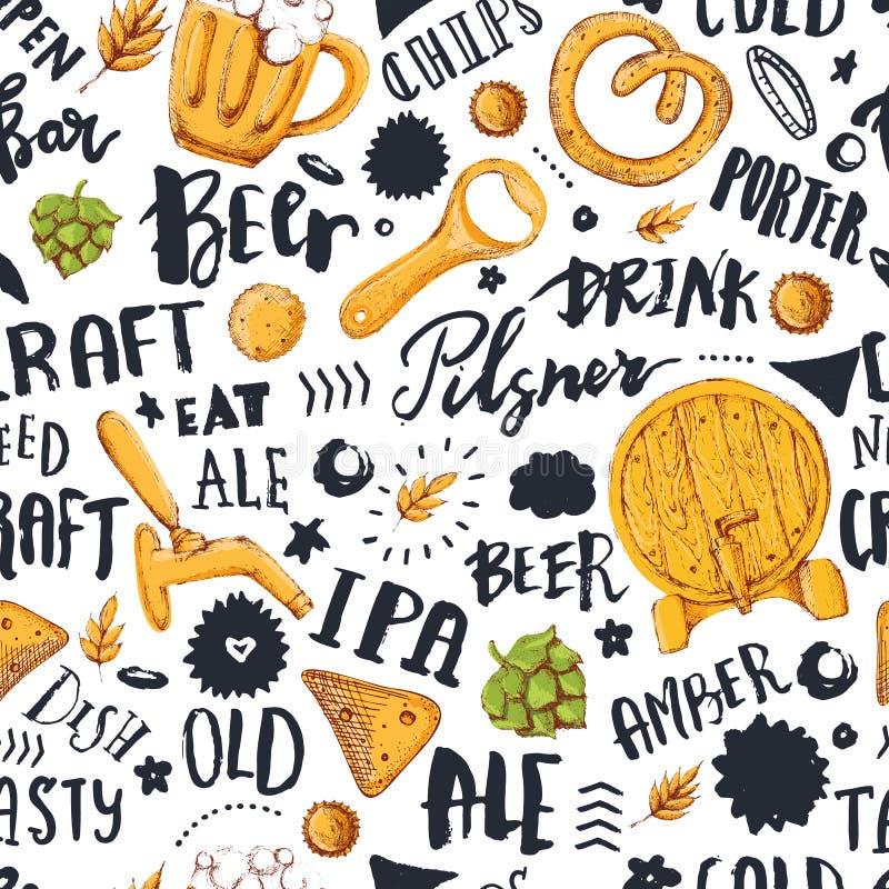 Nahtloses Muster des Bieres mit Hand gezeichneter Beschriftung für Barförderung, Kneipe Oktoberfest Skizzenillustration des Vekto vektor abbildung