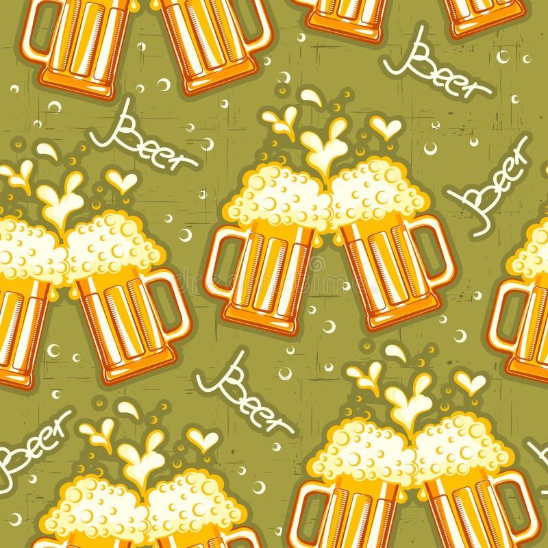 Nahtloses Muster des Bieres. Vektorgläser Bier backg lizenzfreie abbildung