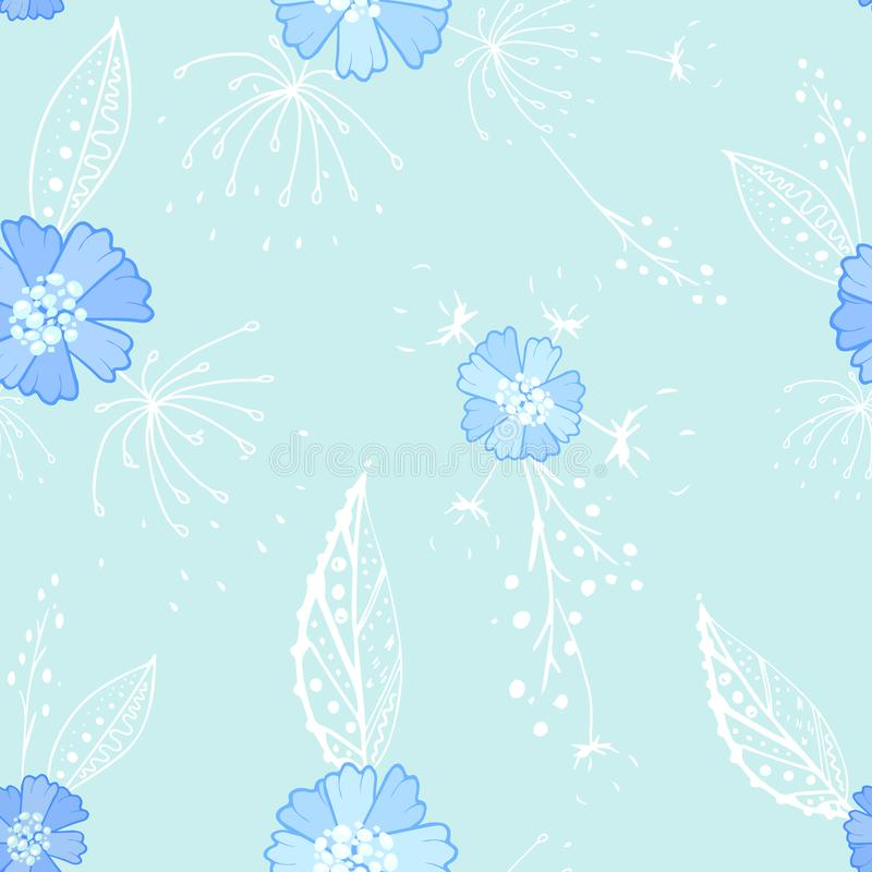 Nahtloses Muster des blauen Blumengekritzels vektor abbildung