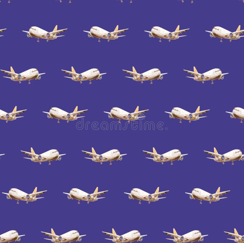 Nahtloses Muster des blauen dunklen Aquarells von den weißen Birnenflugzeugen, die in verschiedene Richtungen der Welt hinter die stock abbildung