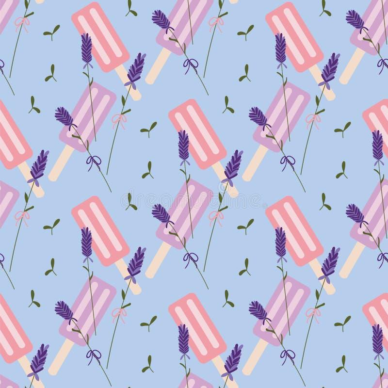 Nahtloses Muster des blauen, purpurroten und rosa Lavendeleises am stiel vektor abbildung