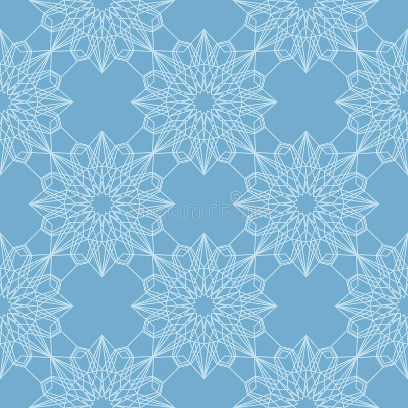 Nahtloses Muster des blauen und weißen abstrakten Mosaiks vektor abbildung