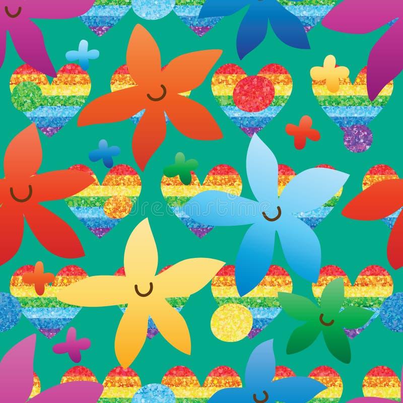 Nahtloses Muster des Blumenlächelnregenbogen-Funkelns lizenzfreie abbildung