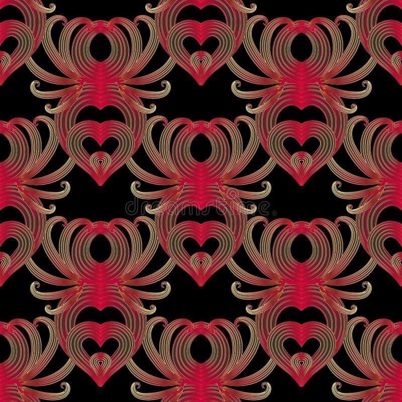 Nahtloses Muster des Blumenweinlesevektors Schwarzer dekorativer Hintergrund Rote Blumen mit Goldstreifen und -linien Damastzusam lizenzfreie abbildung