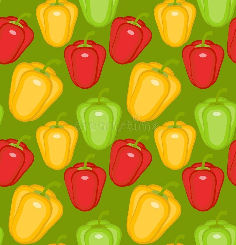 Nahtloses Muster des bulgarischen Pfeffers Paprikagelb, Grün, Rot, endloser Hintergrund, Beschaffenheit Gemüsehintergrund Vektor stock abbildung