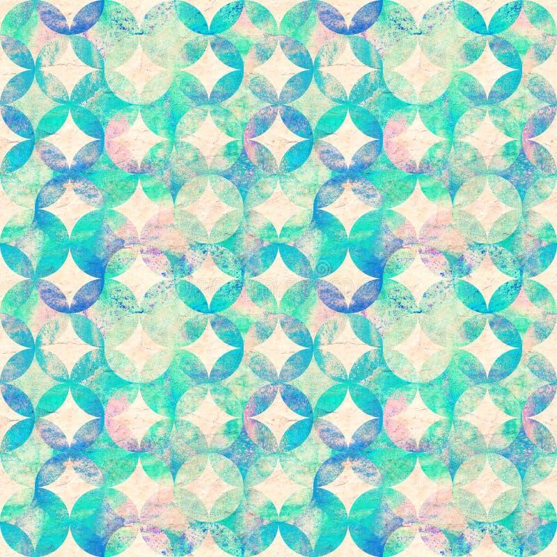 Nahtloses Muster des bunten Aquarells des Zusammenfassungsschmutzes mit Überschneidungskreisen auf altem Papierhintergrund stock abbildung