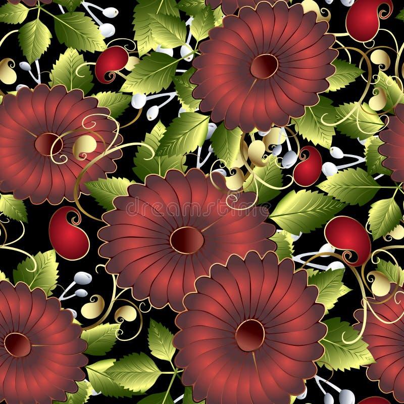 Nahtloses Muster des bunten Blumenvektors 3d Heller dekorativer Sommerhintergrund Rote 3d Blumen, grüne Blätter, Strudel ethnisch stock abbildung