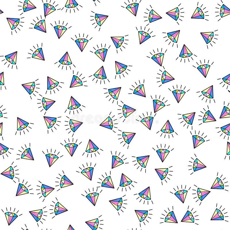 Nahtloses Muster des bunten Diamanten auf wei?em Hintergrund Papierdruckentwurf Abstrakte Retro- Vektorillustration Modisches Gew vektor abbildung