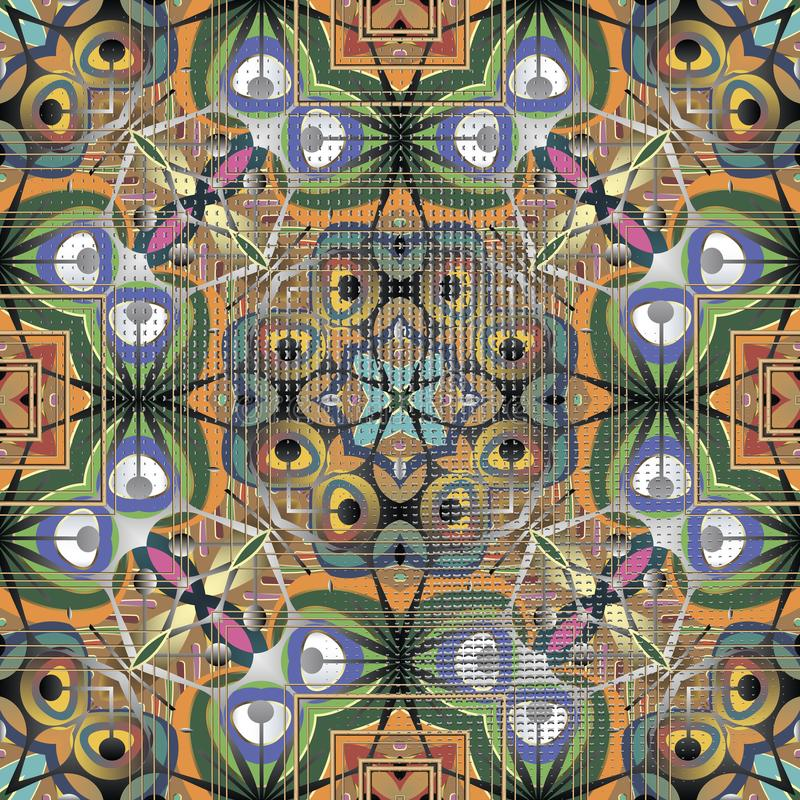 Nahtloses Muster des bunten ethnischen Artzusammenfassungs-Vektors eleganz lizenzfreie abbildung