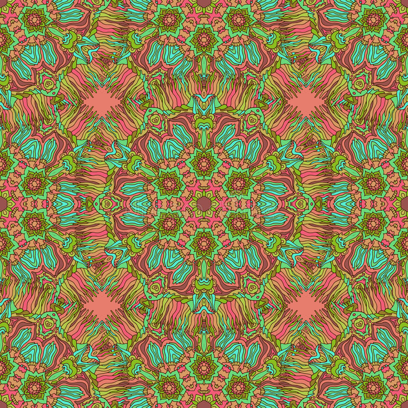 Nahtloses Muster des bunten Gekritzelkaleidoskops stock abbildung
