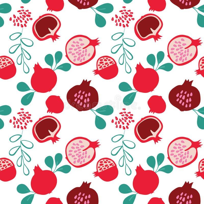 Nahtloses Muster des bunten geschmackvollen modischen Granatapfels des Vektors auf hellem Hintergrund vektor abbildung
