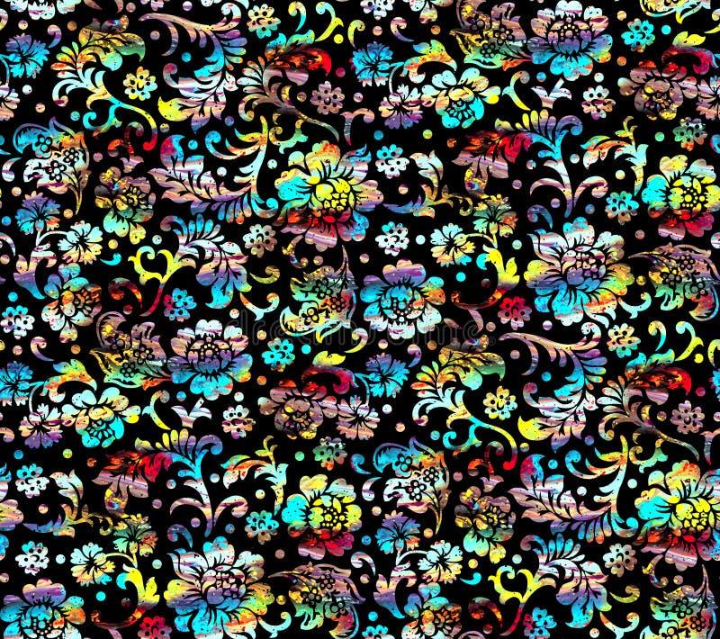 Nahtloses Muster des bunten schwarzen mit Blumenhintergrundes lizenzfreie abbildung