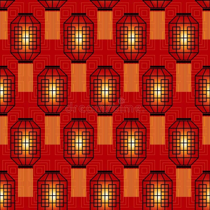 Nahtloses Muster des Chinesischen Neujahrsfests mit chinesischen Taschenlampen stock abbildung