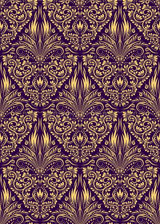 Nahtloses Muster des Damastes, das Hintergrund wiederholt Goldene purpurrote Blumenverzierung in der barocken Art vektor abbildung