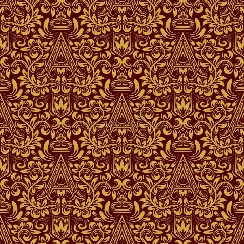 Nahtloses Muster des Damastes, das Hintergrund wiederholt Goldrote Blumenverzierung mit a-Buchstaben und Krone in der barocken Ar stock abbildung