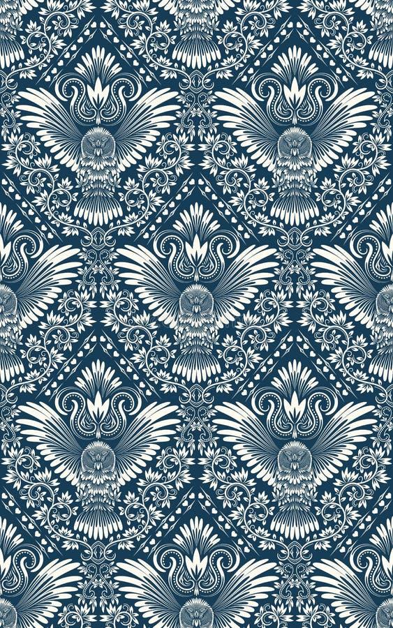 Nahtloses Muster des Damastes mit Eulenschattenbild Weinlese, die Hintergrund wiederholt Blumenverzierung von blauen Tönen in der vektor abbildung